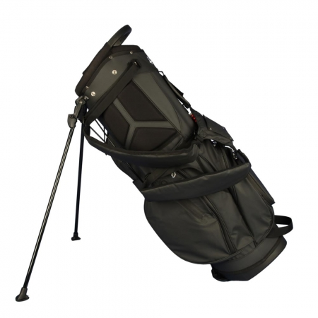 Custom stitched golf bag / stand bag in black. Waterproof. Ball pocket and strap system personalized