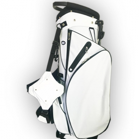 Custom stitched golf bag / stand bag in black or white. Ball pocket custom-stitched with a name or initials. Waterproof.