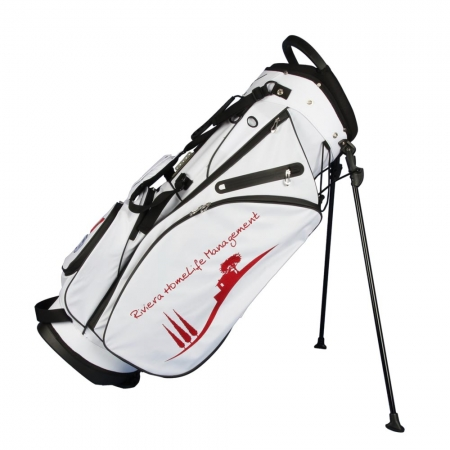 Custom stitched golf bag / stand bag in white. Waterproof. Ball pocket and large side pocket personalized