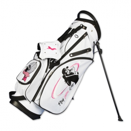 Golf bag / stand bag WATERVILLE in white. Design online 3 custom areas