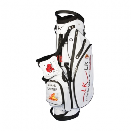 Custom stitched golf bag / stand bag in black or white for golf teams. Customized with a team logo on front, side and strap system. Waterproof.