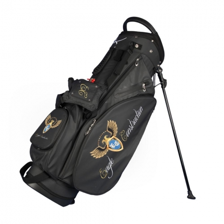 Golf bag / stand bag WATERVILLE in black. Design online 3 custom areas