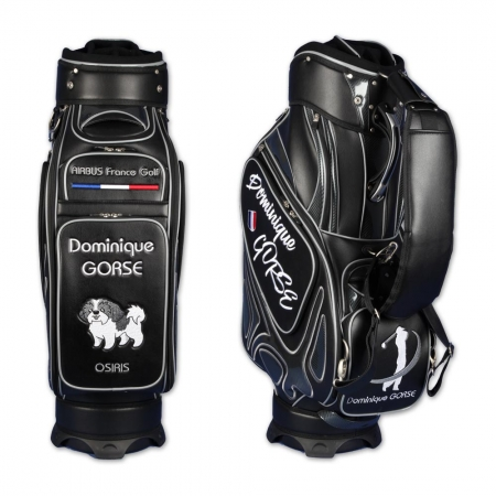 Golf bag / tour bag MONTROSE in black. Design 5 custom areas online