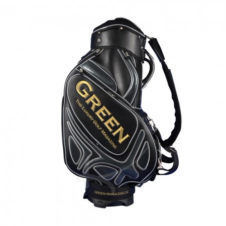 Golf bag / tour bag in black or white. Custom stitched with a company logo. 7 custom areas. Handmade production.
