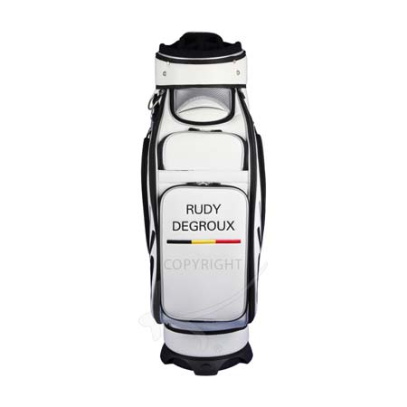 Golf bag / tour bag in black or white. Custom stitched with a national flag and the player's name.