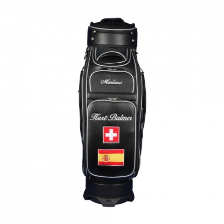 Golf bag / tour staff bag. Front custom stiched. Online design tool.