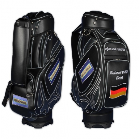 Golf bag / tour bag in black or white. Custom stitched with a company logo. 5 custom areas.