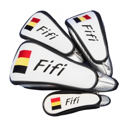 Custom-stitched head cover set in WHITE 4 pcs. Head covers for wood 1, 3, 5, rescue. SAME design