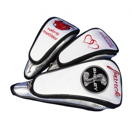 Custom-stitched head cover set in WHITE 3 pcs. Head covers for woods 1, 3, 5. DIFFERENT design