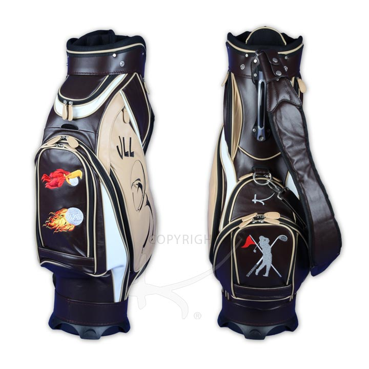 Luxury Custom Golf Bag Made Of Genuine Leather 4 Sched Areas