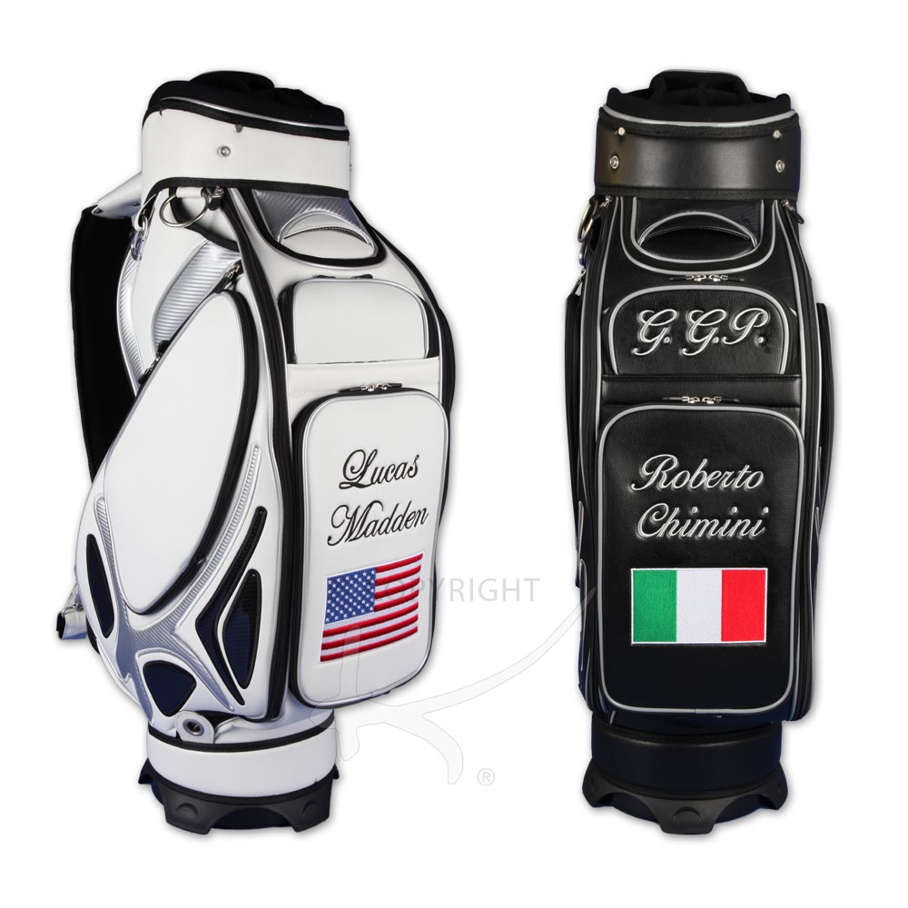 7b086425b67a Golf bag   tour bag in black or white. Custom stitched with a national flag