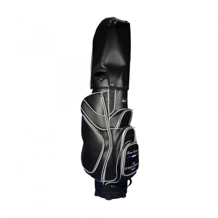 Golf bag / cart bag in black. Personalized on the ball pocket. Design your cart bag online. Classic Bauhaus style.