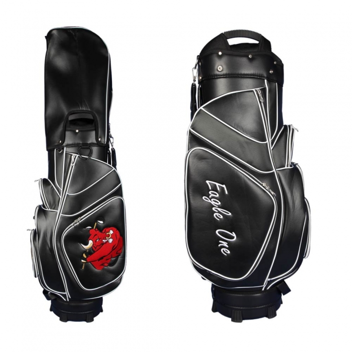 Golf bag / cart bag in black. Personalized on 3 areas. Design your cart bag online. Classic Bauhaus style. Highly exclusive cart bag. German manufacturer