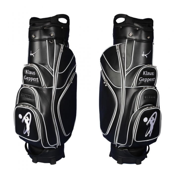 Golf bag / cart bag in black. Personalized on the front. Design your cart bag online. Golf bag in classic Bauhaus style.