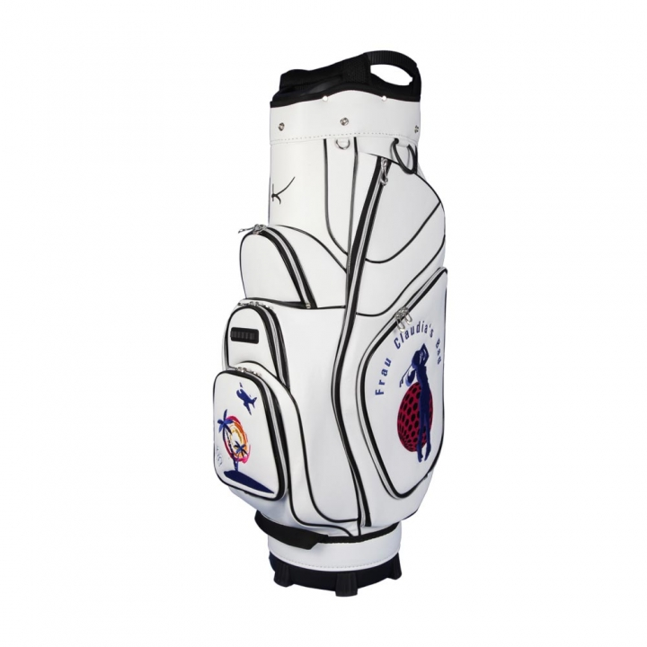 Golf bag / cart bag in white. Personalized on 3 areas. Design your cart bag online. Classic Bauhaus style