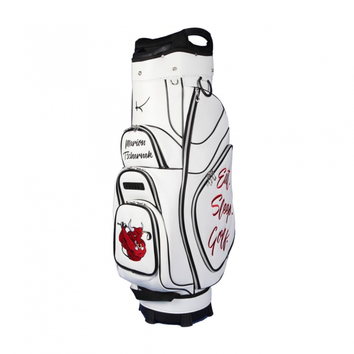 Golf bag / cart bag in white. Personalized on 4 areas. Design your cart bag online. Classic Bauhaus style