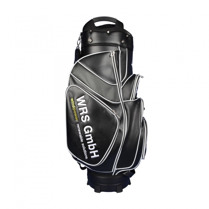 Golf bag / cart bag in white or black. Personalized  with a company logo on 4 custom areas. Classic Bauhaus style.
