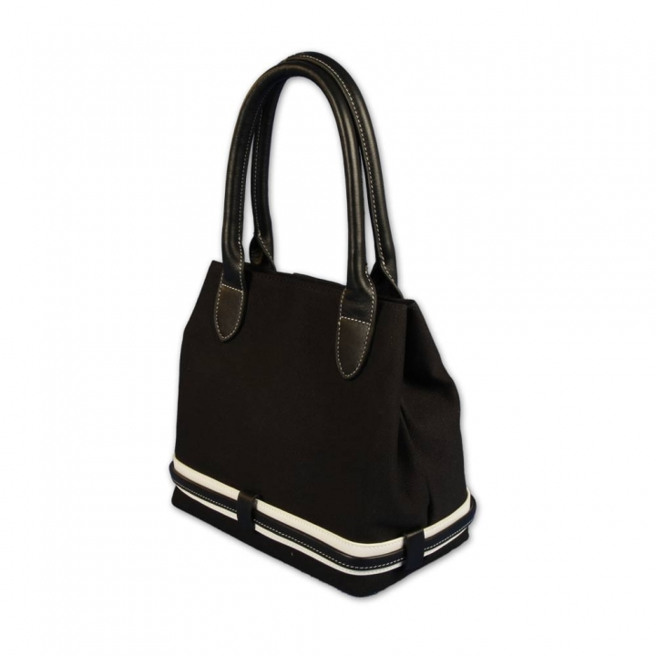 Designer handbag custom stitched. Black & white style