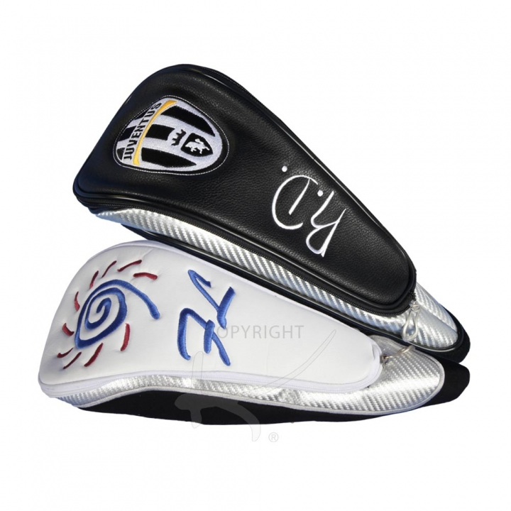 Head cover for the driver. Custom stitched with a company logo and the player's initials. For golf teams