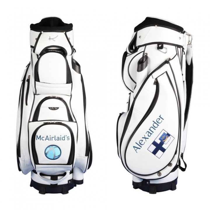 Golf bag / cart bag. Design 3 custom stitched areas by yourself.