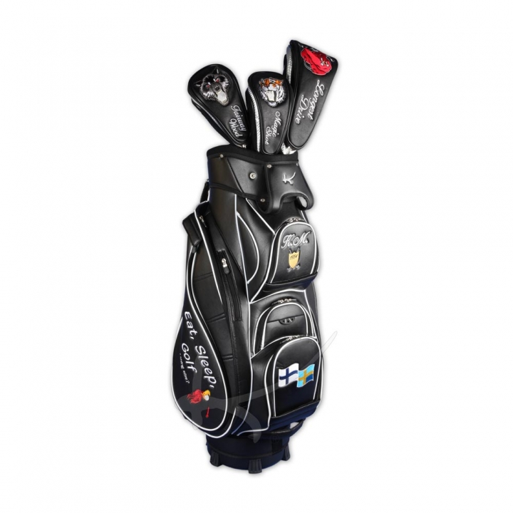 Golf Bag / cart bag. Fully customized with embroideries. Production by hand.