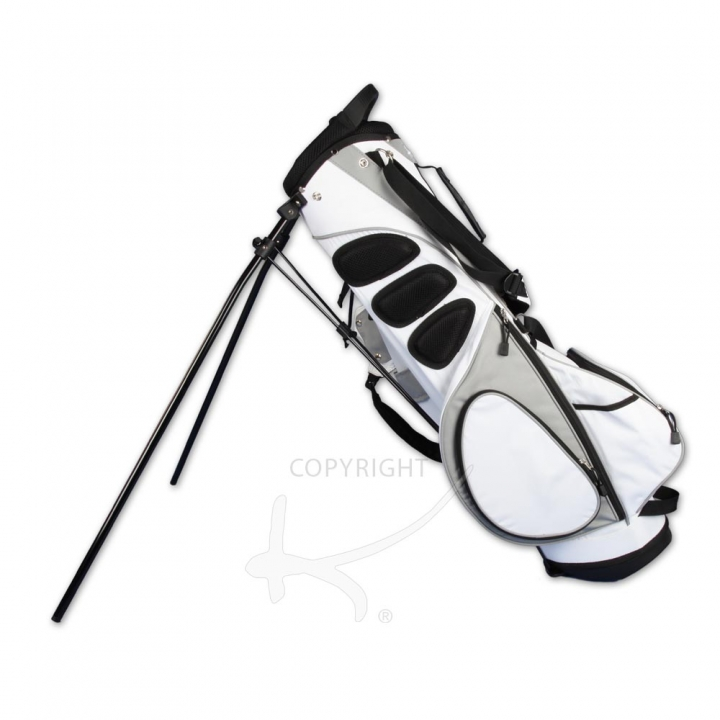 Golfbag / pencil stand MARRAKESH in white. Custom-stitched with name/initials