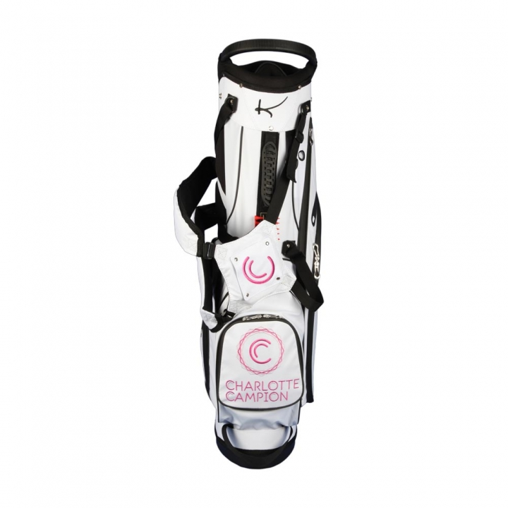Custom stitched golf bag / stand bag in white. Waterproof. Ball pocket and strap system personalized