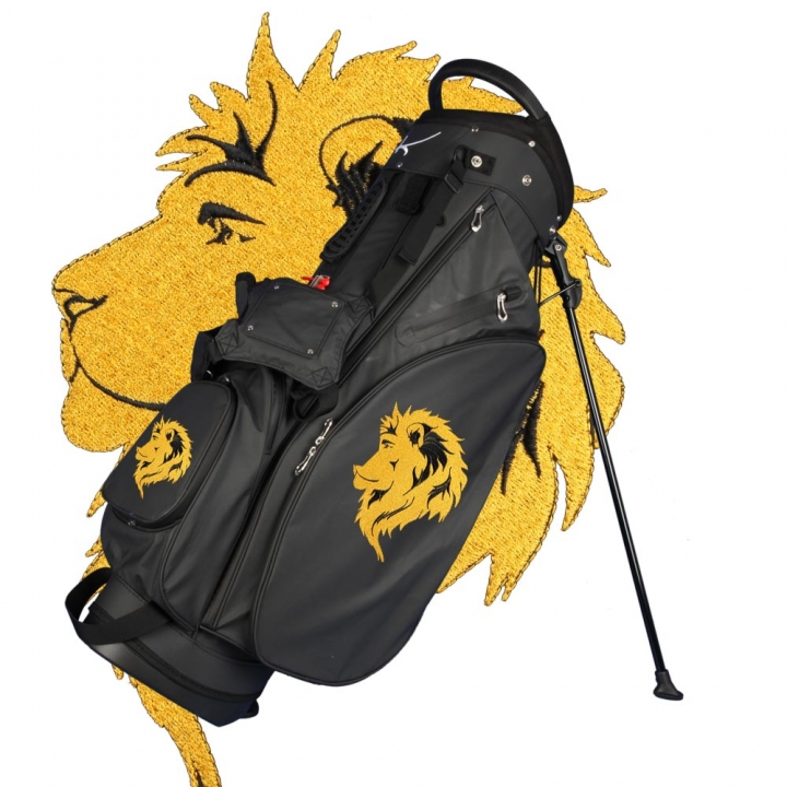 Custom stitched golf bag / stand bag in black. Waterproof. Ball pocket and large side pocket personalized