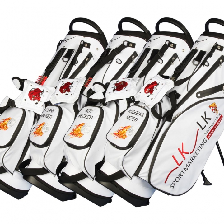 Custom stitched golf bag / stand bag in white. 3 custom areas. Waterproof.