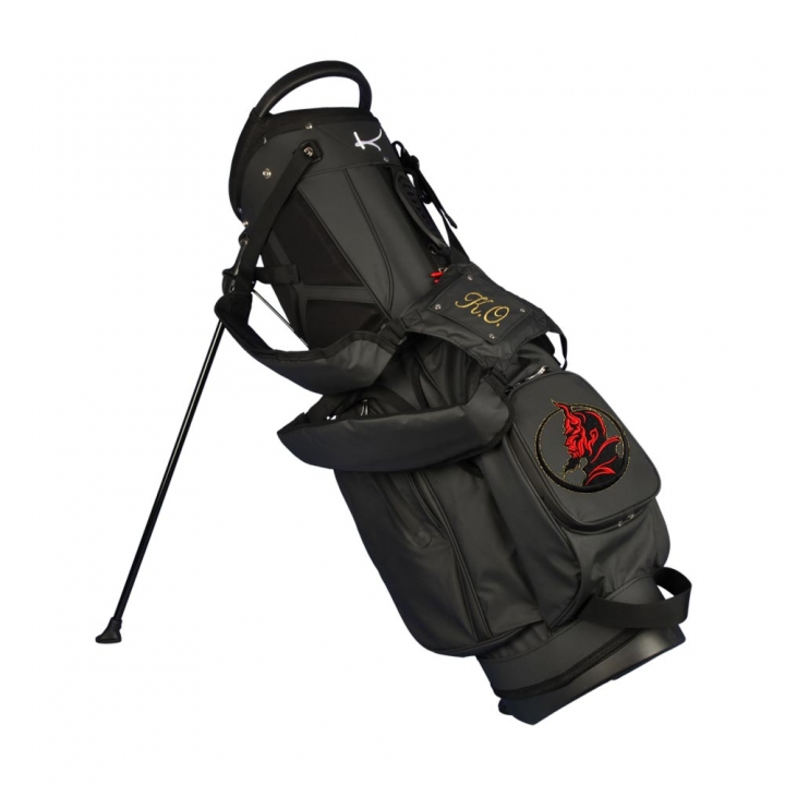 Custom stitched golf bag / stand bag in black. 3 custom areas. Waterproof.