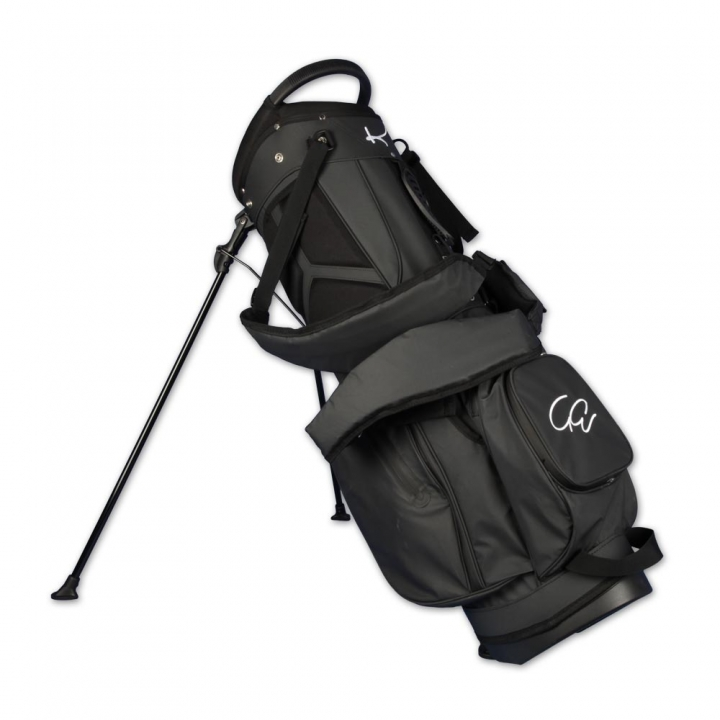 Custom stitched golf bag / stand bag in black. 1 custom area. Waterproof.