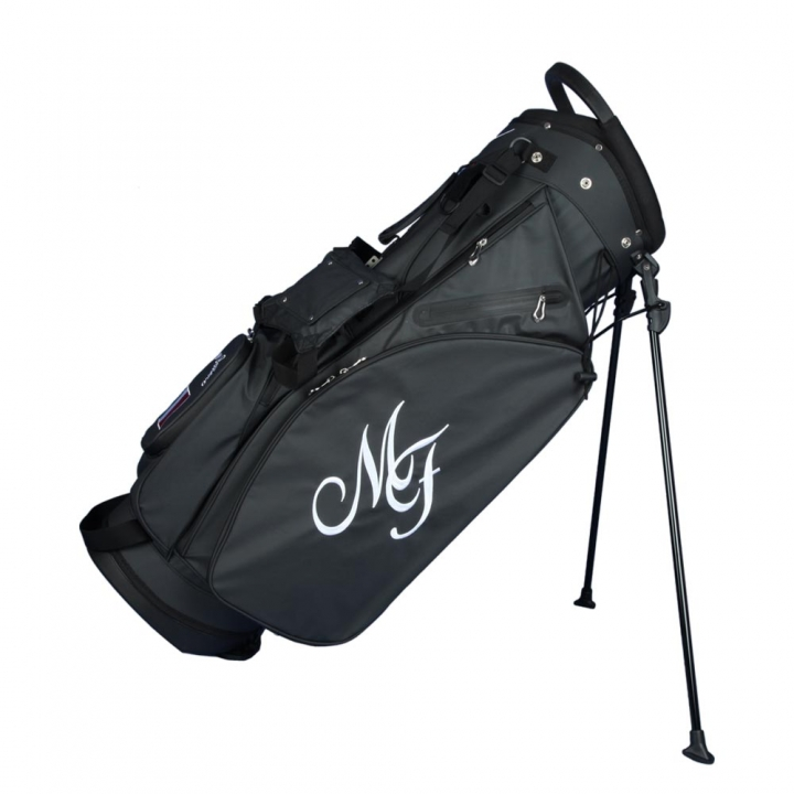 Custom stitched golf bag / stand bag in black or white. Ball pocket and left side pocket custom-stitched with a name and a national flag. Waterproof.