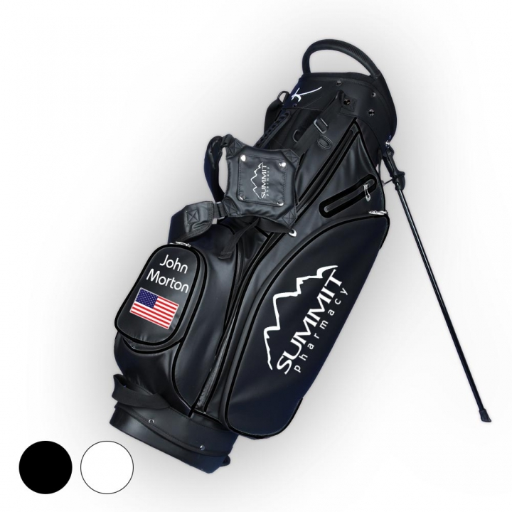 Custom stitched golf bag / stand bag in black or white. Custom-stitched with a  company logo on front, side and strap system. Waterproof.