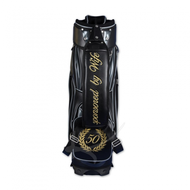 Handmade golf bag / tour staff bag. 6 areas custom stiched. Online design tool.