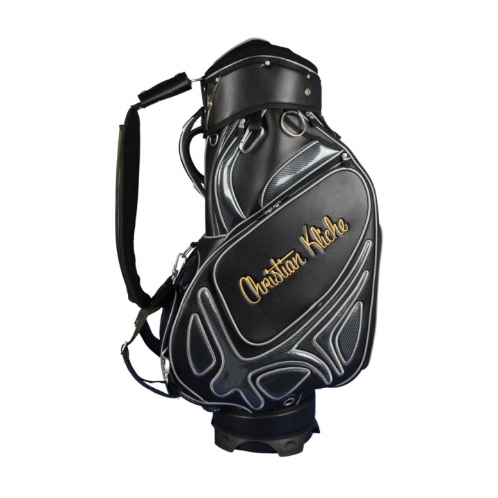 Golf bag / tour bag in black or white. Custom stitched with a company logo. 4 custom areas.