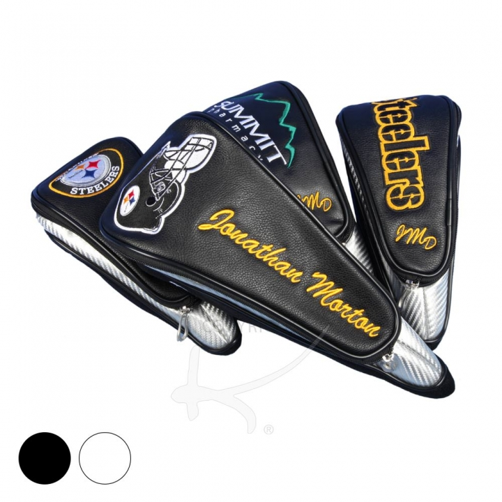 Head cover set custom stitched with an installed company logo