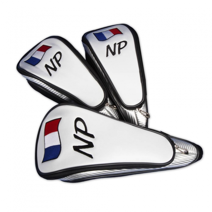 Head cover set 3 pieces. Custom stitched with a flag and the player's name