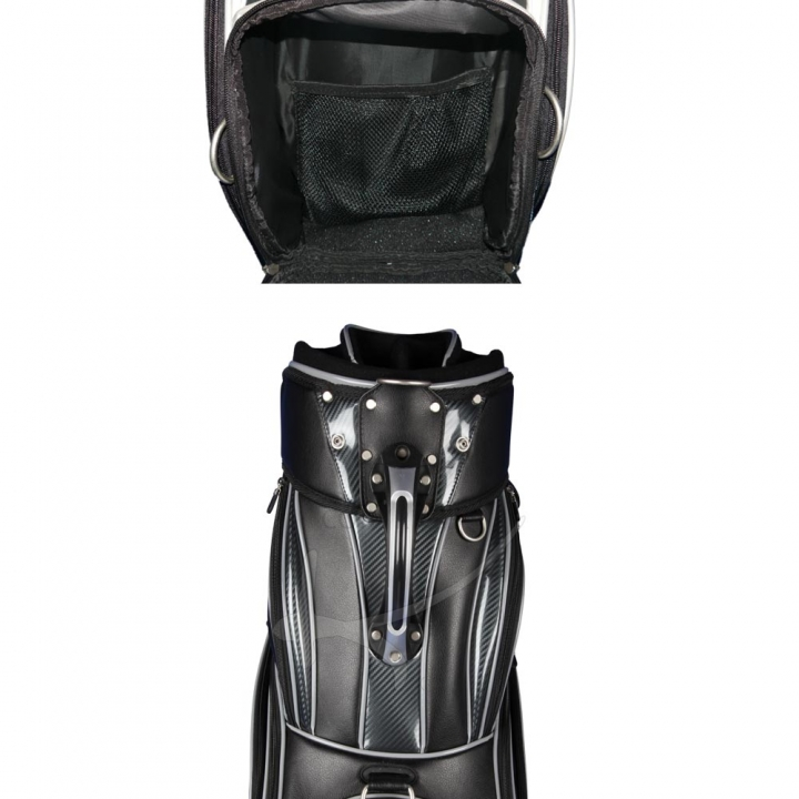 Golf bag / tour bag in black or white for golf teams. 5 custom stitched areas.